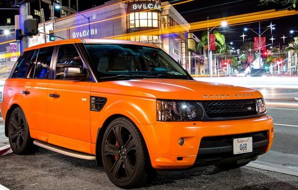 Картинка оранжевый, тюнинг, sport, Land Rover, orange, ленд ровер, matte