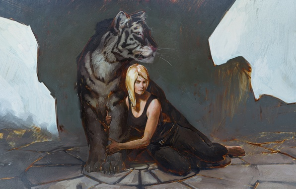 Картинка взгляд, девушка, тигр, арт, блондинка
