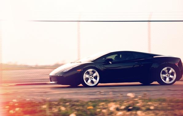 Картинка скорость, Lamborghini, чёрная, Gallardo, black, блик, трек, ламборджини, ламборгини, галлардо