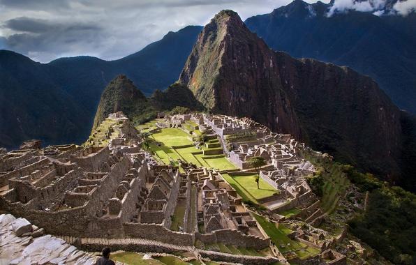 Картинка небо, горы, город, развалины, руины, Перу, Мачу-Пикчу, инки