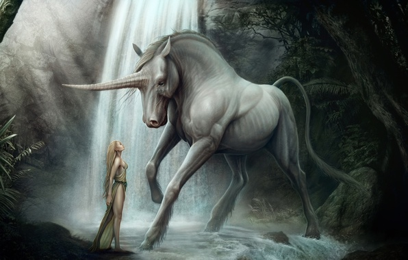 Картинка лес, девушка, конь, водопад, арт, единорог, рог, kenbarthelmey