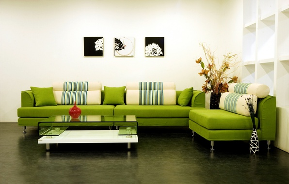 Картинка дизайн, зеленый, стиль, диван, интерьер, подушки, картины, квартира, столик, гостиная, вазы