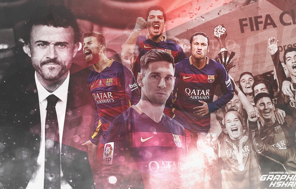 Картинка футбол, Барселона, Barcelona, Messi, Месси, Neymar, Неймар, Пике, Suarez, Pique, Суарез, Луис Энрике