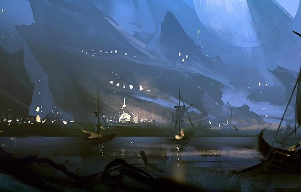 Картинка море, горы, ночь, берег, лодка, корабли, арт, парус