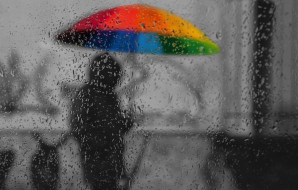 Картинка грусть, осень, стекло, капли, дождь, краски, зонт