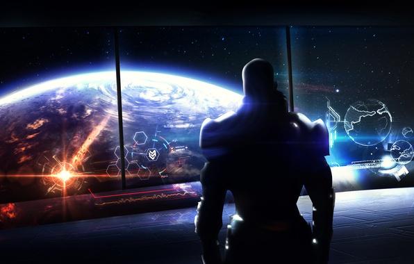Картинка Earth, shepard, mass effect 3, fan art