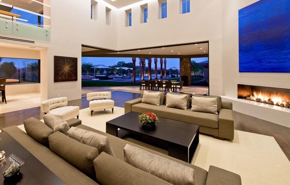 Картинка дизайн, дом, стиль, пальмы, стол, стулья, интерьер, картина, кресла, камин, pool, столик, диваны, Arizona, houses, …
