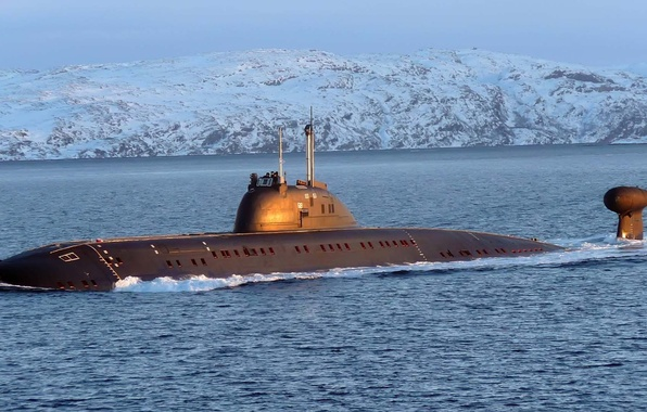 Картинка лодка, флот, снежные, подводная, дали, горы., submarine, океане