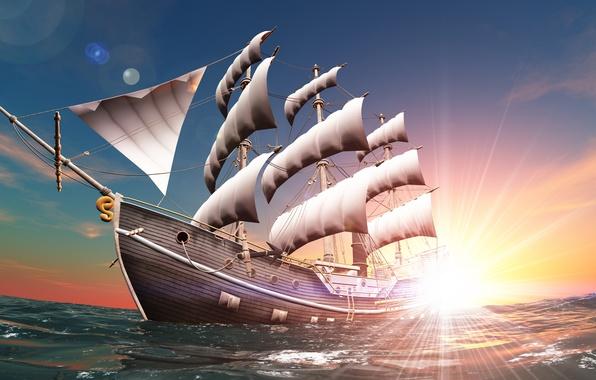 Картинка небо, солнце, пейзаж, рендеринг, рассвет, графика, корабль, красота, паруса, мачты