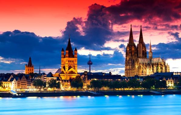 Картинка небо, облака, закат, город, готика, вечер, Германия, панорама, архитектура, старинный, Кёльнский собор, Kölner Dom