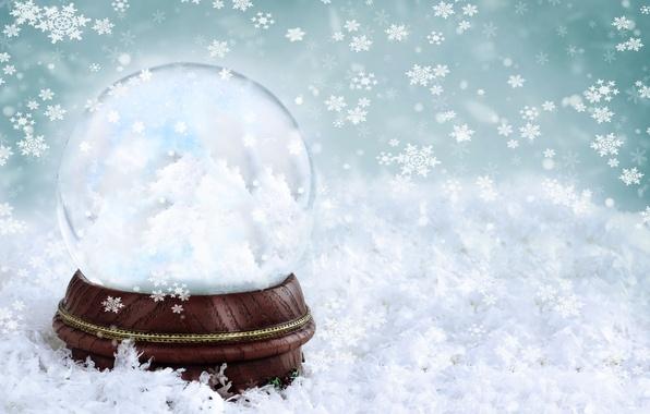 Картинка зима, стекло, снежинки, фон, шар