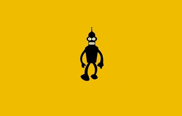 Картинка темный, робот, Бендер, Футурама, Futurama, оранжевый фон, Bender Bending Rodriguez