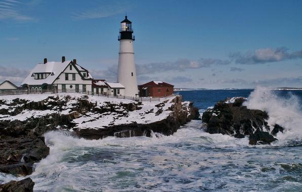 Картинка скалы, побережье, маяк, прибой, залив, Cape Elizabeth, Portland Head Light