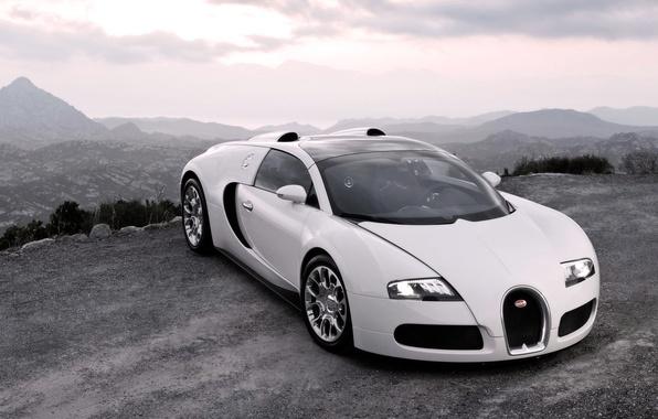 Картинка Авто, Белый, Bugatti, Капот, Veyron, Фары, Люкс, Спорткар