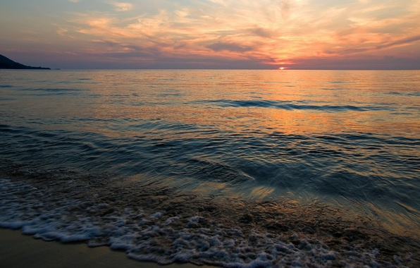 Картинка солнце, закат, берег, Море, штиль