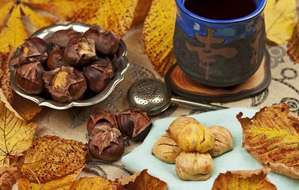 Картинка осень, листья, чай, иероглиф, каштаны, ситечко