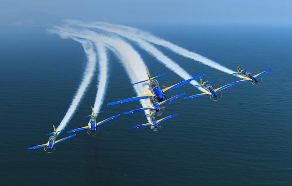Фото обои море, дым, самолеты, Бразилия, Рио-де-Жанейро, FAB, Военно-воздушные силы Бразилии, ВВС Бразилии, Эскадрон Дымов