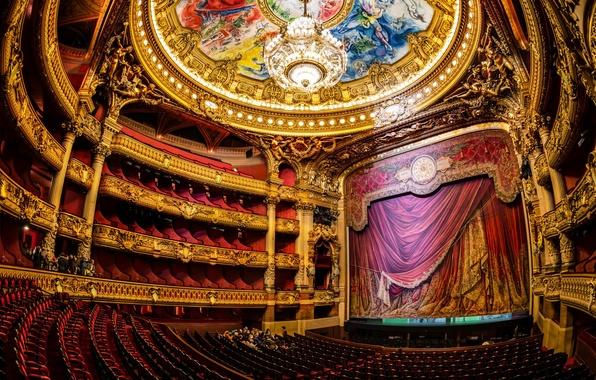 Картинка сцена, париж, люстра, театр, опера, зал