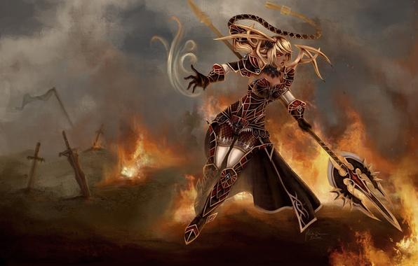 Картинка девушка, оружие, фантастика, огонь, доспехи, воин, арт, разрушение, мечи, janna, league of legends