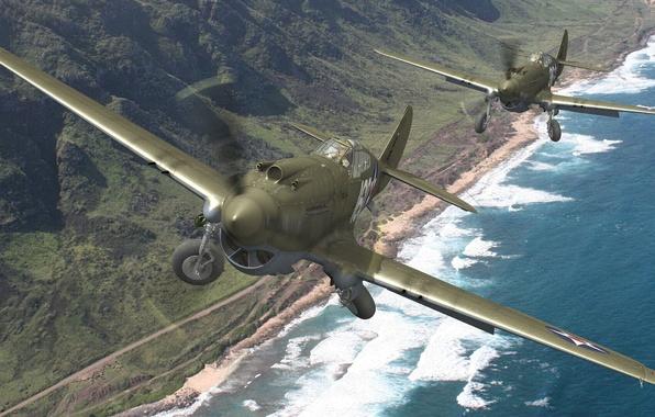 Картинка пляж, горы, берег, истребители, пара, США, шасси, ВВС, Curtiss, Tomahawk, P-40, Warhawk, Kittyhaw