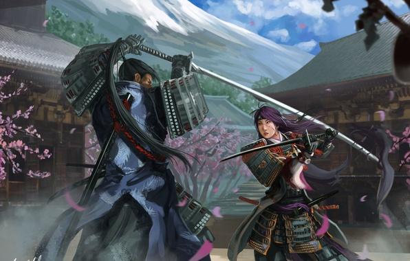 Картинка девушка, оружие, азия, гора, дома, сакура, арт, броня, битва, парень, поединок, Peter Balogh