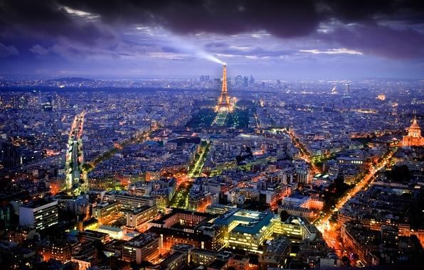 Картинка ночь, город, огни, Франция, Париж, вид, здания, башня, дома, освещение, Эйфелева, панорама, столица
