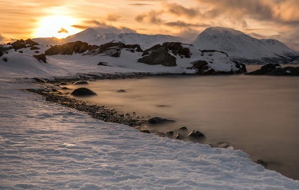 Картинка sunset, snow, norway