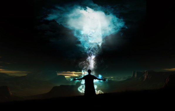 Картинка энергия, горы, человек