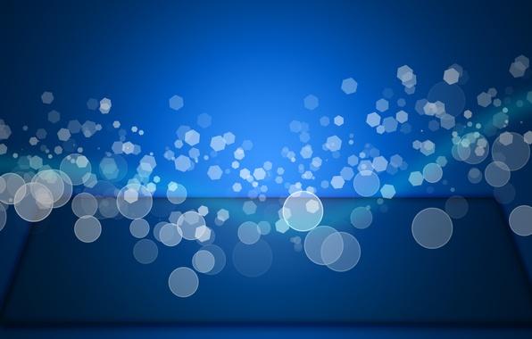 Картинка голубой, волна, Боке, Эффект
