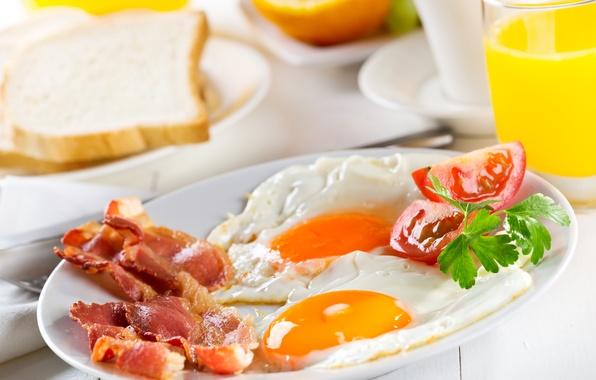 Картинка зелень, завтрак, яичница, помидор, бекон, tomatoes, greens, Breakfast, bacon, scrambled eggs