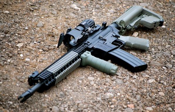 Картинка оружие, автомат, гравий, AR-15, штурмовая винтовка