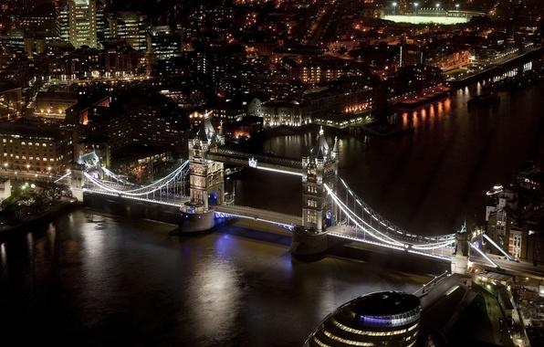 Картинка ночь, город, река, Англия, Лондон, дома, небоскребы, освещение, Великобритания, Темза, Тауэрский мост, Tower Bridge, London, …