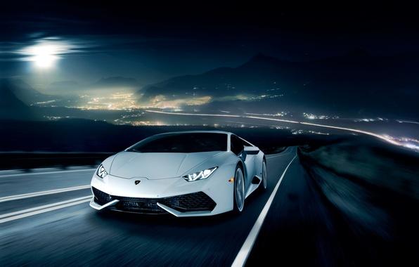 Картинка ночь, движение, Lamborghini, горизонт, white, front, LP 610-4, Huracan, Ronaldo Stewart, LB724