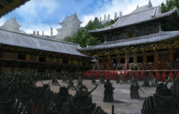 Картинка оружие, люди, азия, армия, воин, арт, самурай, двор, храм, броня, тренировка