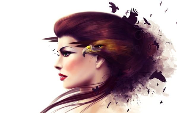 Картинка девушка, лицо, коллаж, птица, орел, клюв, профиль