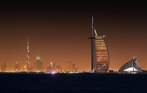 Картинка Ночь, Город, Свет, Небоскребы, City, Light, Красиво, Дубай, Dubai, Night, Wallpapers, Обоя, Scycraps