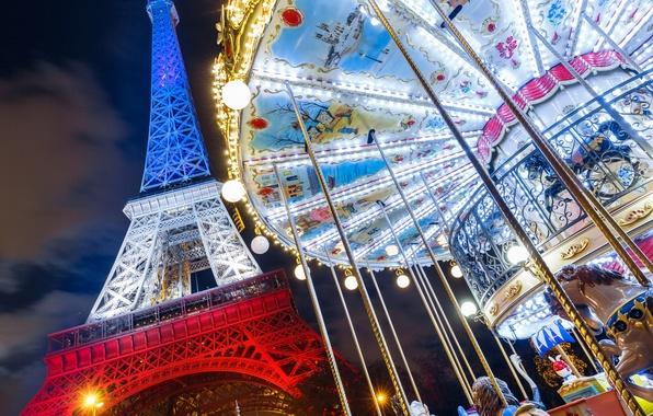 Картинка Франция, Париж, Эйфелева башня, карусель, Paris, France, Eiffel Tower