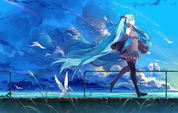Картинка небо, девушка, облака, птицы, природа, улыбка, аниме, арт, форма, vocaloid, hatsune miku, haraguroi you