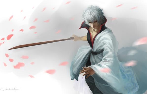 Картинка меч, катана, лепестки, арт, парень, gintama, sakata gintoki, hangleing