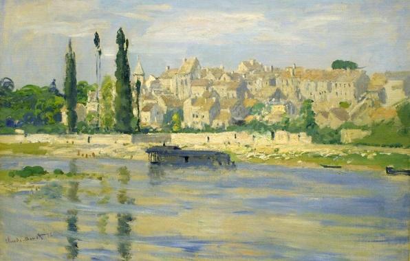 Картинка пейзаж, город, река, дома, картина, Клод Моне