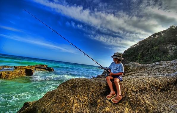 Картинка море, берег, рыбалка, рыбак, удочка