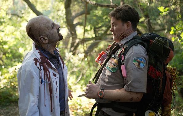 Картинка cinema, insignia, zombie, blood, forest, movie, coat, death, film, scout, vegetation, rope, uniform, apocalypse, seifuku, ...