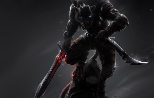 Картинка кот, оружие, магия, камень, монстр, меч, арт