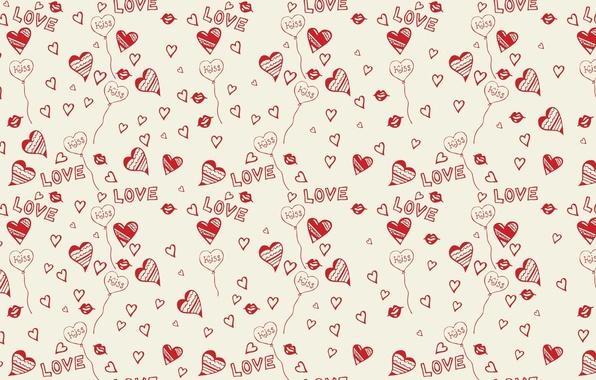 Картинка фон, love, kiss, hearts, Сердца