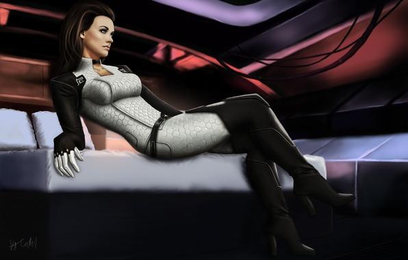 Картинка девушка, кровать, арт, mass effect, каюта, miranda lawson, цербер, миранда, cerberus