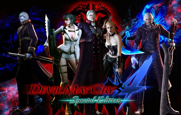 Картинка lady, nero, devil may cry, dante, capcom, virgil, trish, Devil May Cry 4: Special Edition, …