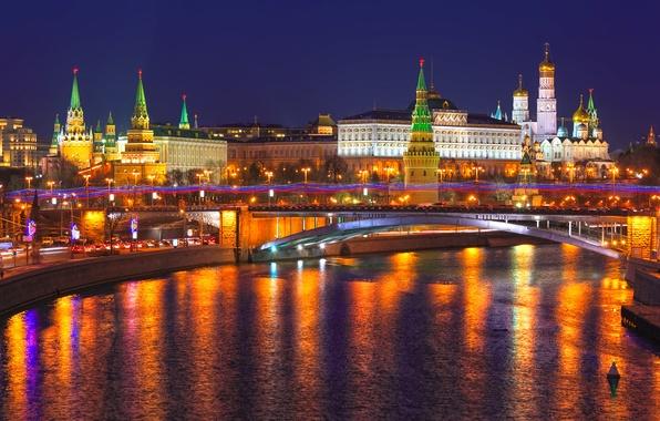 Картинка ночь, city, огни, отражение, река, Москва, Кремль, Россия, Russia, Moscow, Kremlin