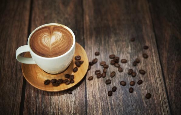 Картинка пена, кофе, кружка, напиток, зёрна