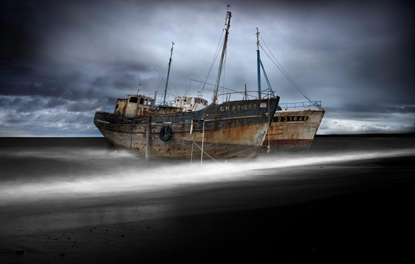 Картинка море, ночь, корабли