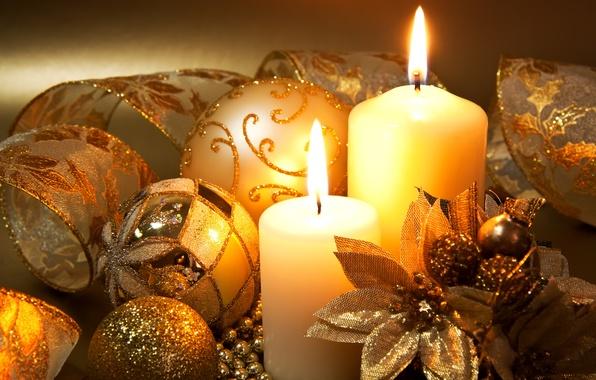 Картинка шарики, украшения, цветы, ленты, праздник, шары, узоры, свечи, Новый Год, Рождество, декорации, золотые, свечки